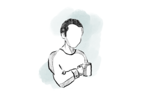 Illustration of a man holding a coffee mug