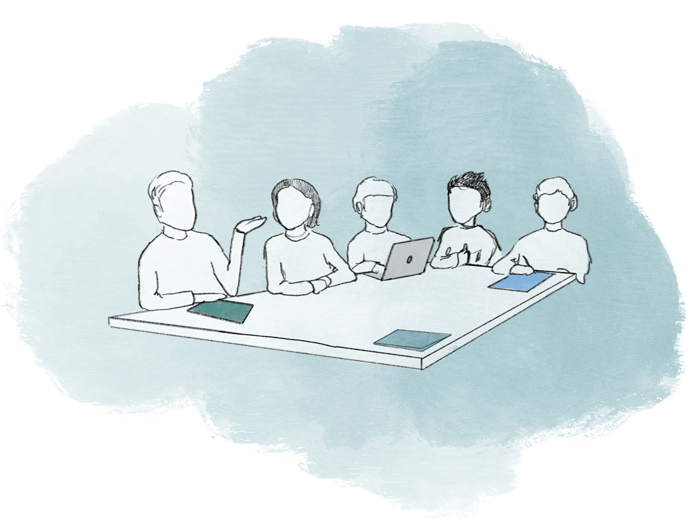 Illustration of a team of people sitting at a table having a meeting