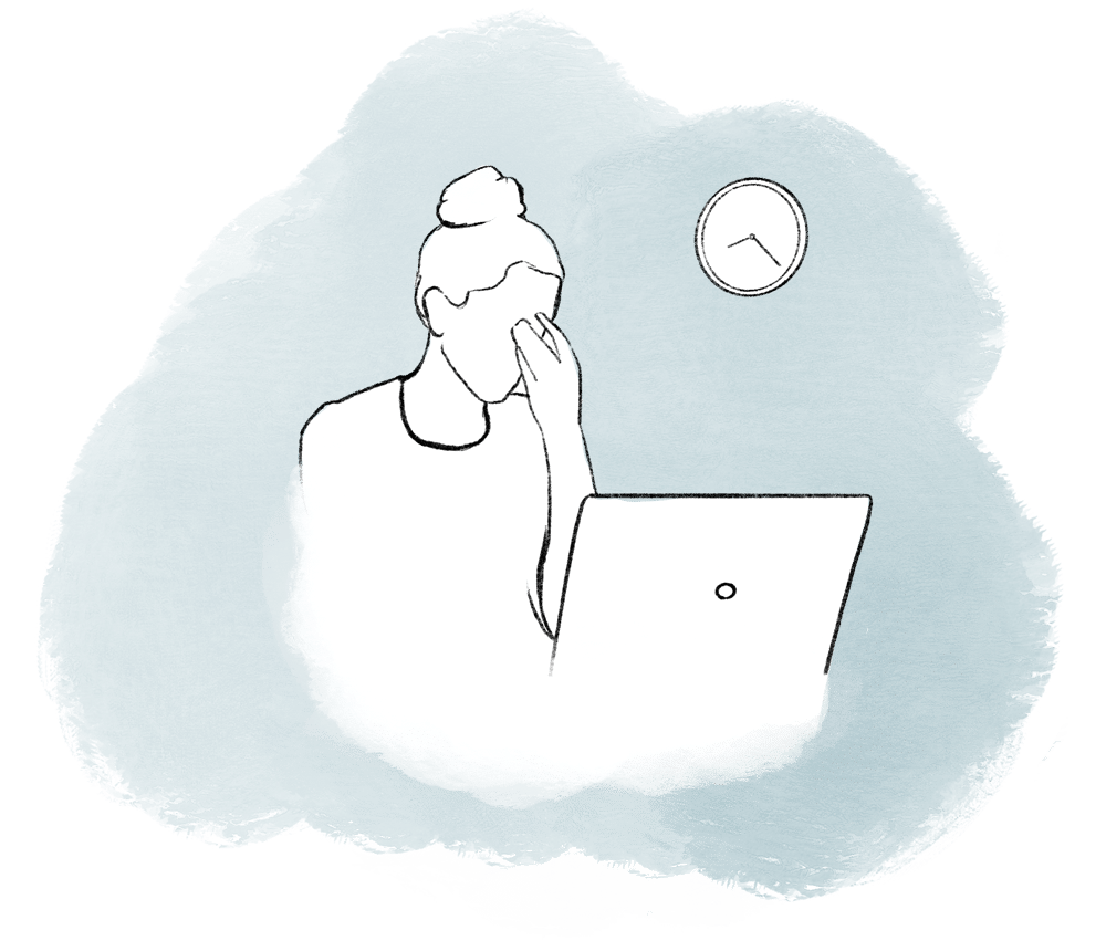 Illustration of a frustrated woman with her laptop in front of her and a clock in the background