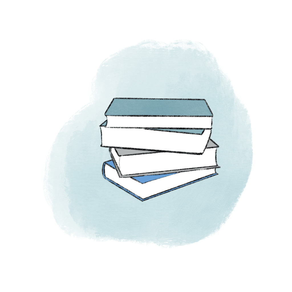 Illustration of a stack of books with a blue cloud in the background