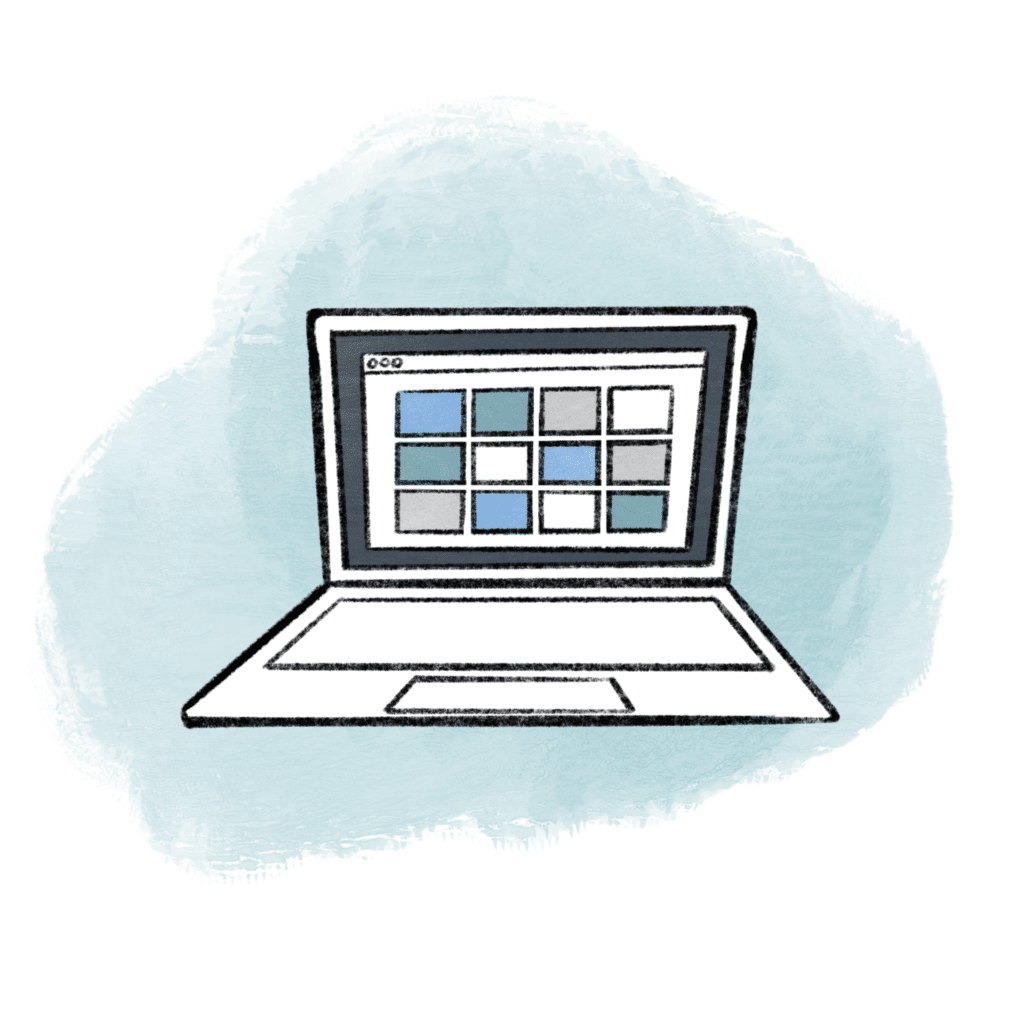 Illustration of an open laptop with a blue cloud in the background