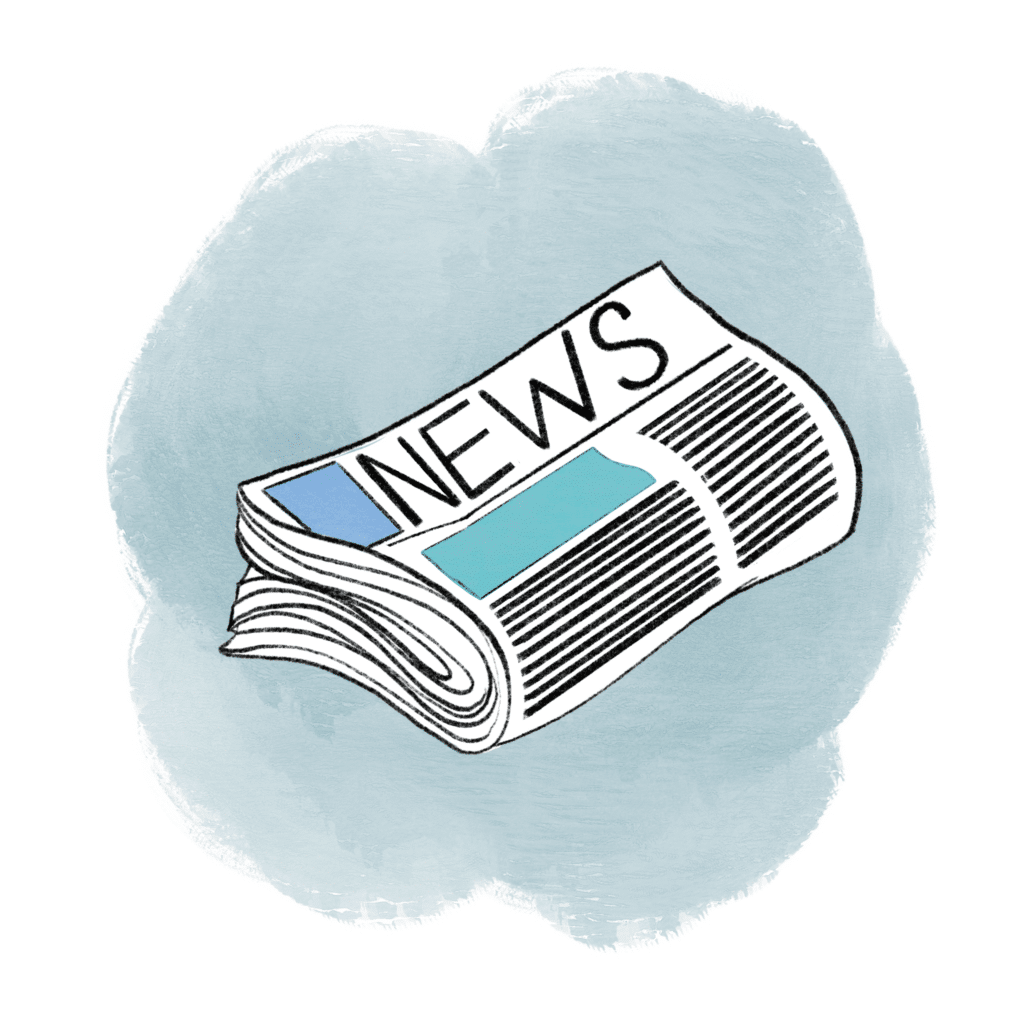 Illustration of a rolled up news paper with a blue cloud in the background