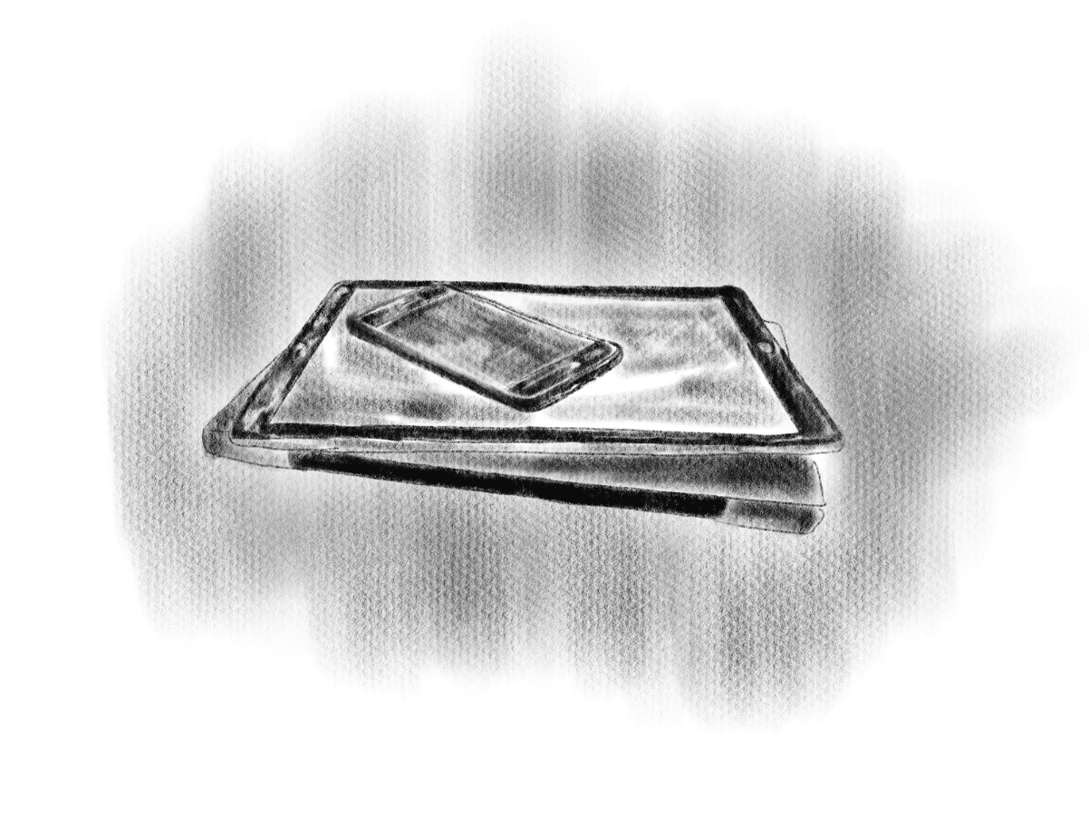 A phone on top of a tablet