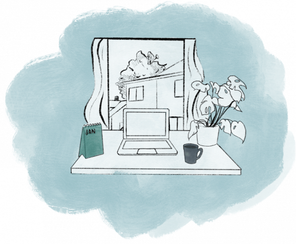 Illustration of a desk with a laptop, plant and a coffee mug with an open window in the background